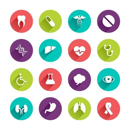 cancer de pulmon: Vector de aplicaciones web iconos fijados en Dise�o plano con largas sombras sobre botones de c�rculo con signos deshabilitadas p�ldora diente caduceo h�gado laboratorio cerebro coraz�n ri��n ojo c�ncer de pulm�n dna est�mago
