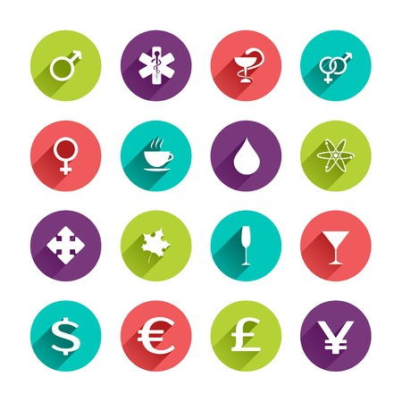 Vector Web Icons Set in Flat Design with Long Shadows on circle buttons with man woman gender symbols caduceus cup of coffee waterdrop atom maple leaf dollar euro pound yen signs Vector