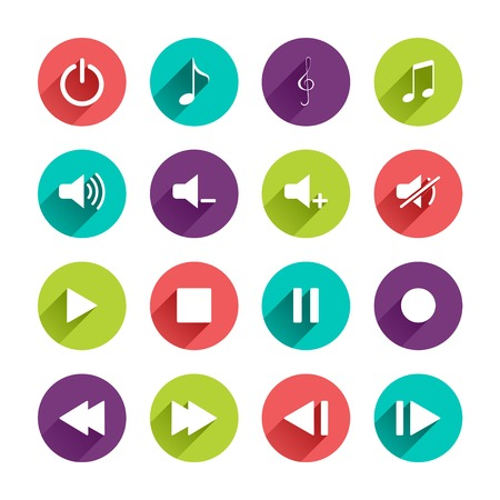 long play: Vector Music Control Panel Icons Set in Flat Design with Long Shadows on circle buttons