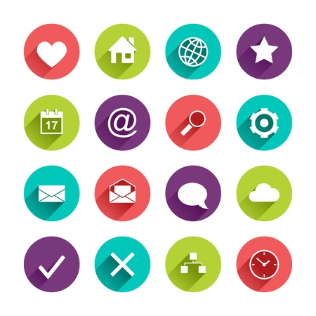 shadow: Vector Application  Web Icons Set in Flat Design with Long Shadows on circle buttons with heart home globe star calendar mail search gear envelope speech bubble cloud map clock yes no signs Illustration