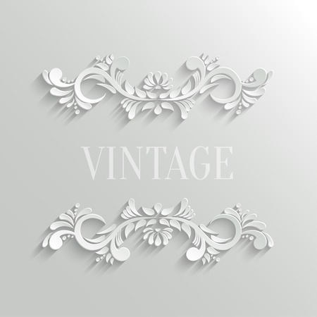 Vector 3d Floral Invitation Card in Vintage Style Vector