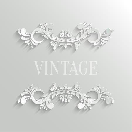 cổ điển: Vector 3d Floral Thẻ Lời mời trong Vintage Phong cách