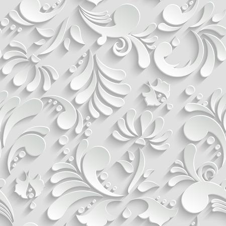 Abstract Floral 3d Hintergrund, Vektornahtloses Muster. Trendige Design-Vorlage