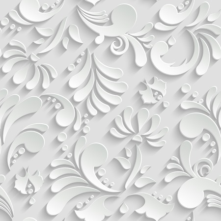 Abstract Floral 3d Background, Vector Seamless Pattern. Trendy Design Template Illustration