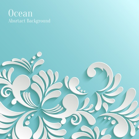 Abstract Ocean Background with 3d Floral Pattern. Trendy Design Template