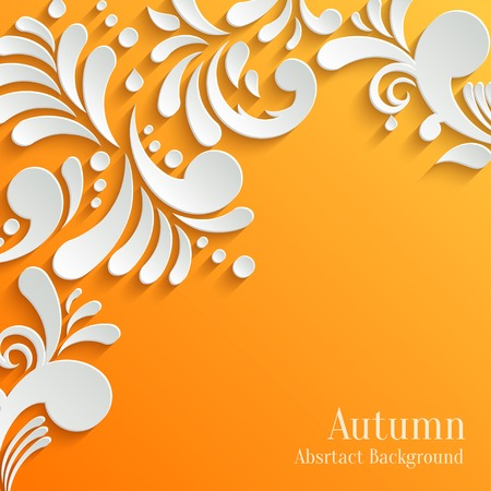 Abstract Autumn Orange Background with 3d Floral Pattern. Trendy Design Template Illustration