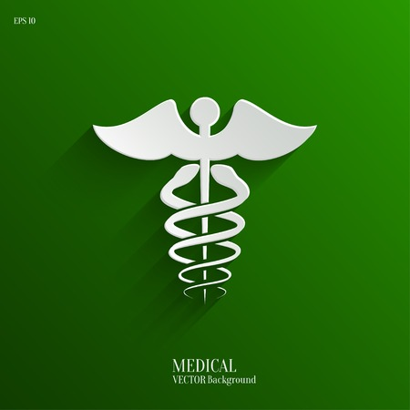 vector medical: Abstract Medical Background with Caduceus Medical Symbol. Vector Icon Illustration