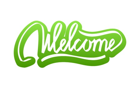 welcome sign: Welcome Hand Lettering Calligraphy Sticker Isolated on White Background