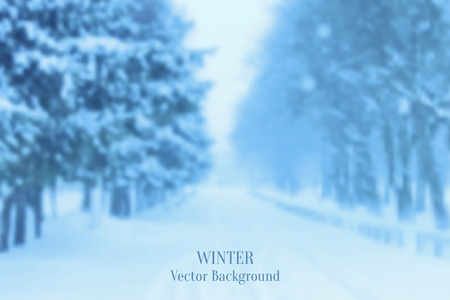 Realistic Blurred Winter Landscape Background, Trendy Design Template Vector