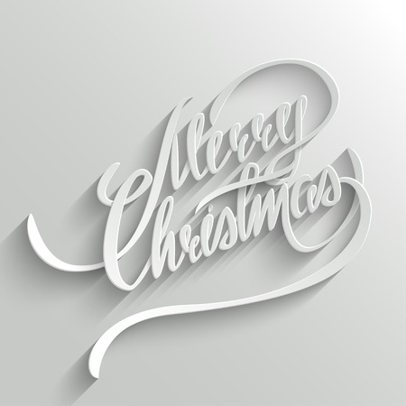 Merry Christmas Hand lettering Greeting Card. Typographical Background. Handmade calligraphy. 3d Text with Shadow Vector