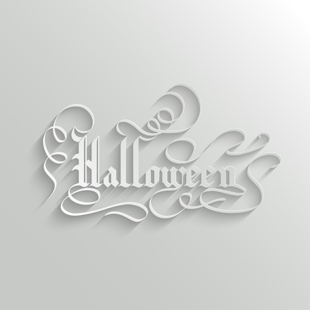 Halloween Hand lettering Greeting Card. Typographical Background. Handmade calligraphy. 3d Gothic Font with Shadow Vector