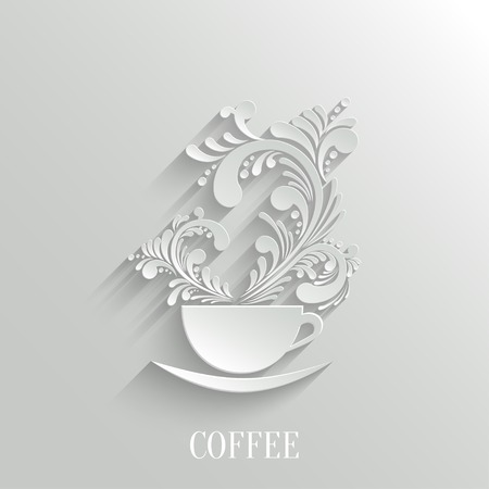 Abstract 3d Cup of Coffee with Floral Aroma Design Element with Shadow. Trendy Design Template. Easy paste to any Background Ilustracja
