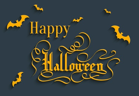 Happy Halloween Hand lettering Greeting Card. Typographical Background. Handmade calligraphy. 3d Gothic Font with Shadow Vector