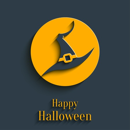 3d witch: Design Template for Greeting Card, Banner for Halloween Party in Flat Style with Shadow