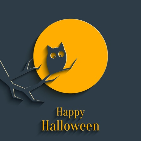 Design Template for Greeting Card, Banner for Halloween Party in Flat Style with Shadow Vector