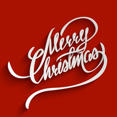 christmas christmas christmas: Merry Christmas Hand lettering Greeting Card. Typographical Background. Handmade calligraphy. 3d Text with Shadow