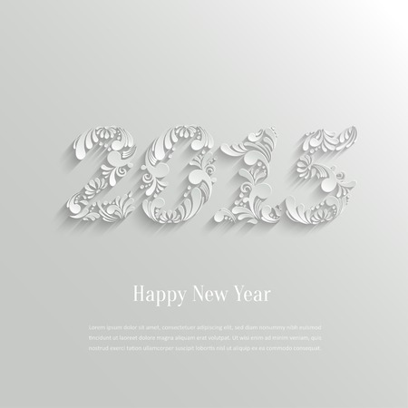 Abstract 3d Floral Happy New Year 2015 Background, Trendy Design Template Vector