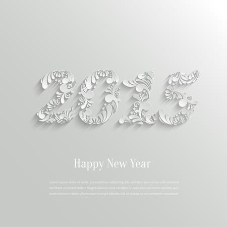 nieuwjaar: Abstracte 3d bloemen Gelukkig Nieuwjaar 2015 achtergrond, Trendy Design Template
