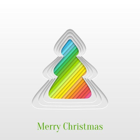 Abstract Paper Cut Christmas Tree Background, Trendy Design Template Vector
