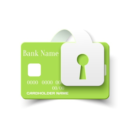 secure payment: Credit Card Online Payments Protection Security Concept Icon, Vector Design Template