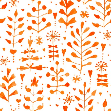 Hand painted watercolor floral seamless pattern. Vintage autumn vector background with flowers and leaves. Original hand drawn texture for web, fabric, print, invitations, cards. Vector