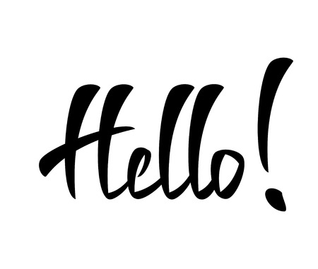 Hello Hand lettering Greeting Card. Typographical Vector Background. Handmade calligraphy. Easy paste to any background