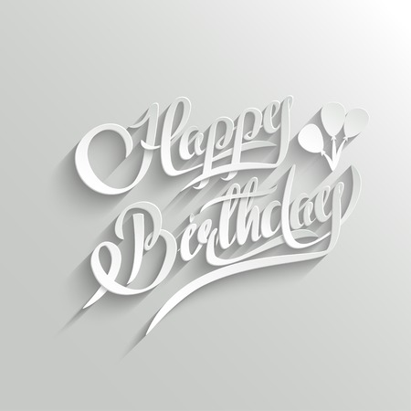 3d text: Happy Birthday Hand Lettering Greeting Card.  Vector Background. Invitation Card. Handmade Calligraphy. 3d Text with Shadow