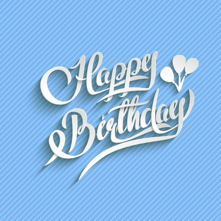 type lettering: Happy Birthday Hand Lettering Greeting Card.  Vector Background. Invitation Card. Handmade Calligraphy. 3d Text with Shadow