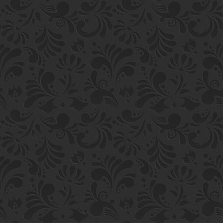 ビンテージ ベクトル シームレスな花柄。微妙な黒の背景