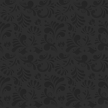Vintage Vector Floral Seamless Pattern. Subtle Black Background