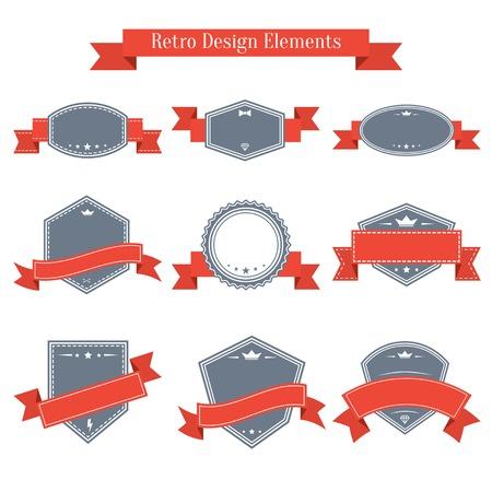 Vektor Jahrgang Etiketten Mit Bändern. Design-Elemente Sammlung ...