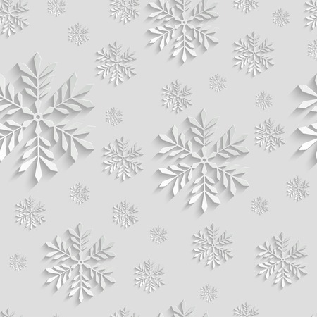 december holiday: Abstract 3d Christmas Background with Snowflakes. Vector Seamless Pattern Template for Christmas and Invitation Cards