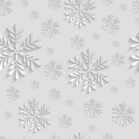 Abstracte 3d achtergrond van Kerstmis met sneeuwvlokken. Vector Template voor Kerstmis en Uitnodiging Naadloze Patroon