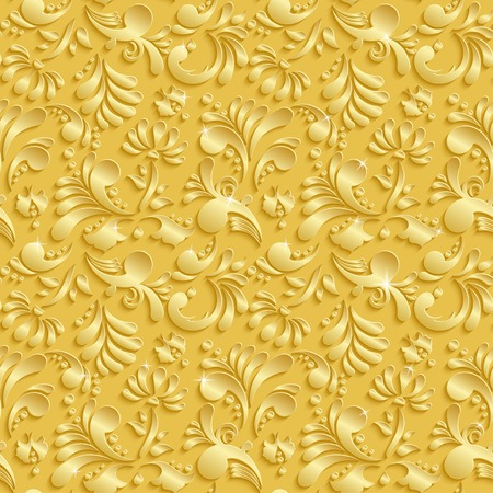 Abstract Floral 3d Golden Background, Vector Seamless Pattern. Trendy Design Template for Christmas and Invitation Cards