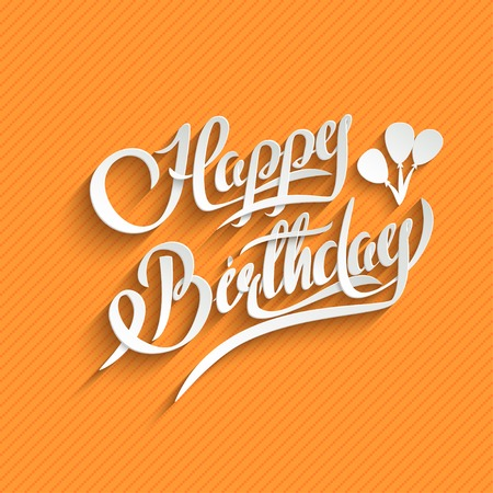 orange swirl: Happy Birthday Hand Lettering Greeting Card.  Vector Background. Invitation Card. Handmade Calligraphy. 3d Text with Shadow