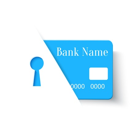 bank protection: Credit Card Online Payments Protection Security Concept Icon, Vector Design Template
