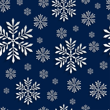 Abstract Blue 3d Christmas Background with Snowflakes. Vector Seamless Pattern Template for Christmas and Invitation Cards