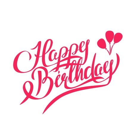 feliz: Feliz cumpleaños Vector letras - hecho a mano de la caligrafía, elemento de diseño Vectores
