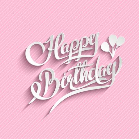 white party: Gelukkige Verjaardag hand belettering. Vector Achtergrond. Card uitnodiging. Handgemaakte Kalligrafie. 3d tekst met schaduw