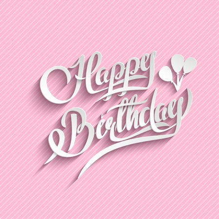 text pink: Happy Birthday Hand Lettering Greeting Card.  Vector Background. Invitation Card. Handmade Calligraphy. 3d Text with Shadow