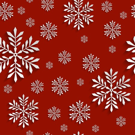 Abstract Red 3d Christmas Background with Snowflakes. Vector Seamless Pattern Template for Christmas and Invitation Cards Vector