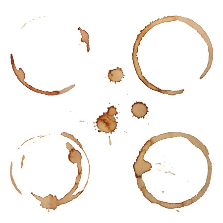 Vector Coffee Stain Rings Set Isolated On White Background for Grunge Design Çizim