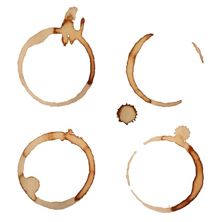 Vector Coffee Stain Rings Set Isolated On White Background for Grunge Design Stock Illustratie