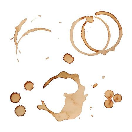 コーヒーの染みリング グランジのデザインを白い背景に分離したセット ベクトル