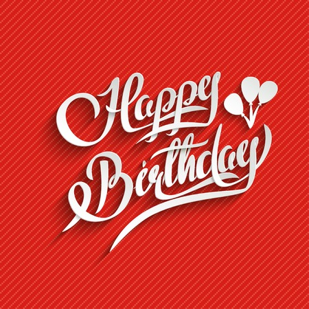 hand lettering: Happy Birthday Hand Lettering Greeting Card.  Vector Background. Invitation Card. Handmade Calligraphy. 3d Text with Shadow