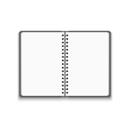 mock up: Vector Realistic Blank Open Notebook Isolated on White Background. Spiral Notepad, Mock Up Illustration