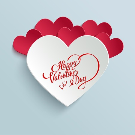 Happy Valentines Day Hand lettering Greeting Card on 3d Heart with Shadow. Typographical Vector Background. Handmade calligraphy Vector