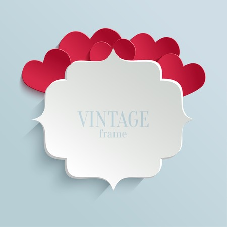 red heart: White paper banner in vintage or retro style with red hearts. Valentines day greeting card template
