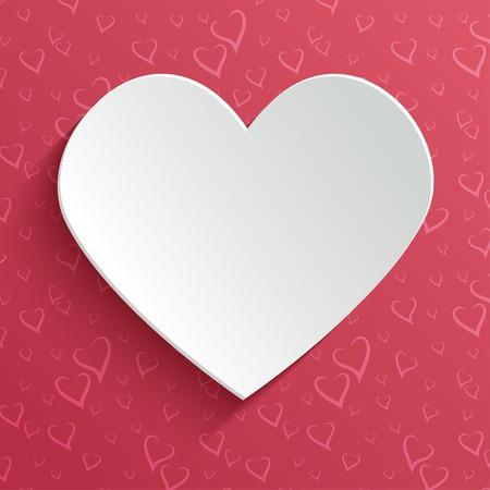 saint valentin coeur: Saint Valentin voeux ou carte d'invitation avec le coeur papier d�coup� sur seamless coeurs stylis�s. Vector design mod�le.