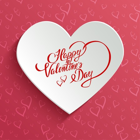 Happy Valentines Day Hand lettering Greeting Card on 3d Heart with Shadow over Seamless Pattern with Stylized Hearts. Typographical Vector Background Vector